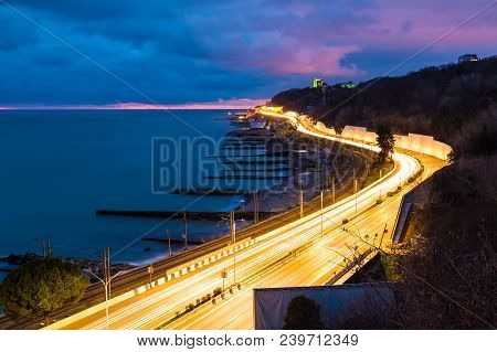 Aerial Dusk View Of The Sea And Kurortny Prospekt With Light Trails, Sochi, Russia