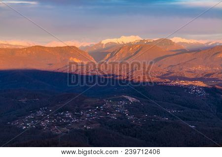 Aerial View Of The Villages Of Sochi In The Shadow Of Mount Akhun On The Background Of Mountains In