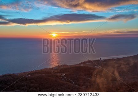 Aerial View Of Beautiful Sunset Over The Sea From The Peak Of Mount Akhun, Sochi, Russia