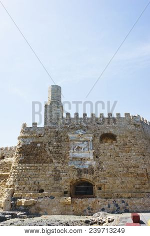 Heraklion And The Entrance To The Venetian Bay From The Sea. Fortress Kules And The Sea Bay On The I