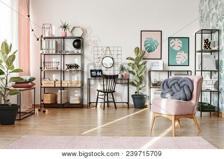 Home Office With Pink Elements