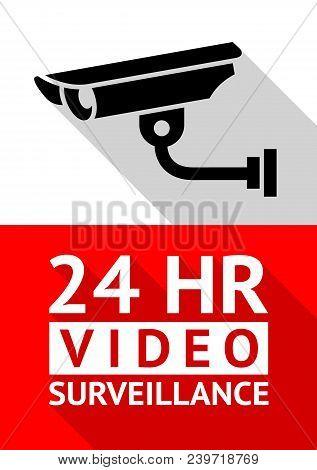 Video Surveillance Sticker, Vector Illustration For Print