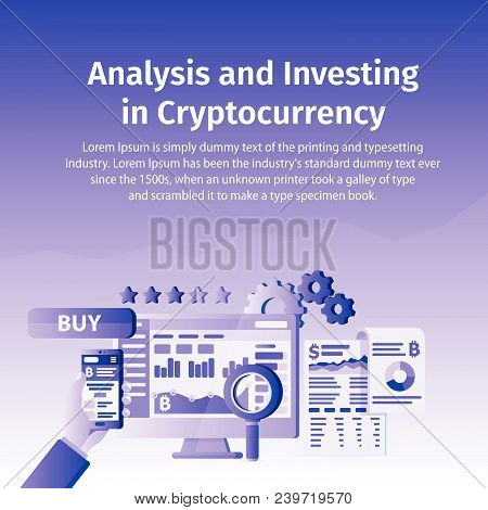 Analysis And Investing In Cryptocurrency. Person Working On Crypto Start Up. Blockchain Technology.