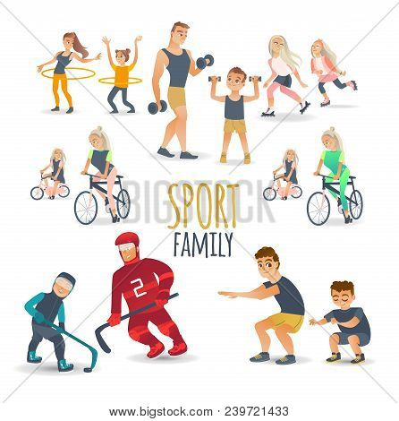 Cartoon Family Characters Doing Sports Set. Vector Girl Boy Kids, Mother, Father Woman Man Adults Wo