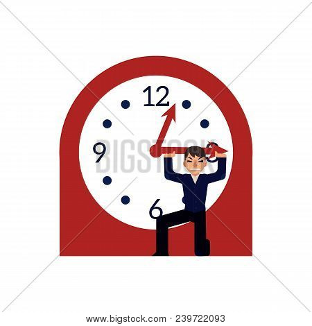 Businessman Trying To Stop Time Holding Minute Hand Of Big Clock Isolated On White Background. Deadl