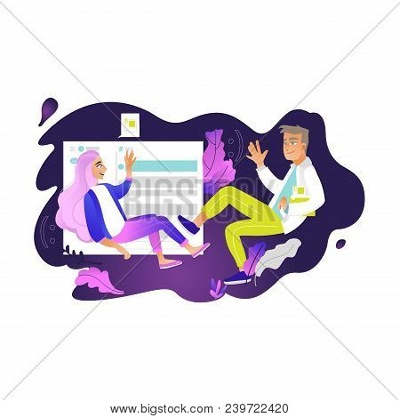 Chatting Girl And Boy - Young Woman And Man Fly In Weightlessness Surrounded By Digital Chat Element
