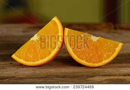 Orange Slice On Wooden Background  Slice, Table, Fresh, Juice, Organic, Citrus, Ripe, Food, Natural,