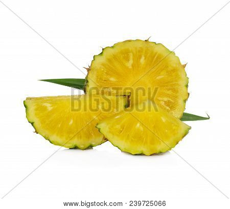 Pineapple  Slices Isolated On White Background Food Healthy