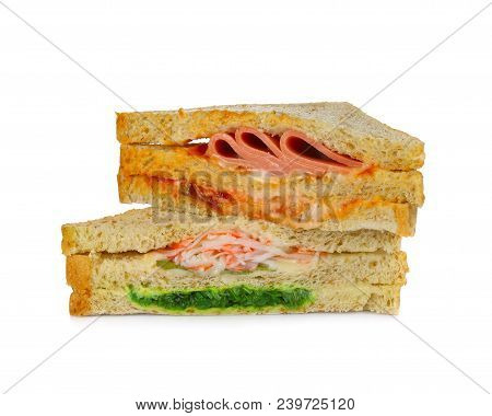Sandwich Isolated On White Background Cheese, Food, Ham, Lettuce, Bread