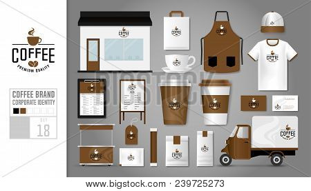 Corporate Identity Template Set 18. Logo Concept For Coffee Shop, Cafe, Restaurant. Realistic Mock U