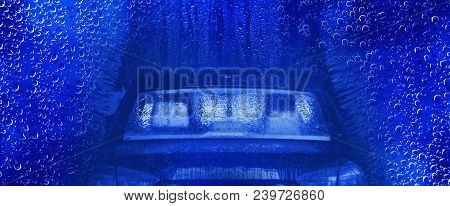 Car Wash Backdrop Banner. Water Drops And The Car Inside The Car Wash Concept.