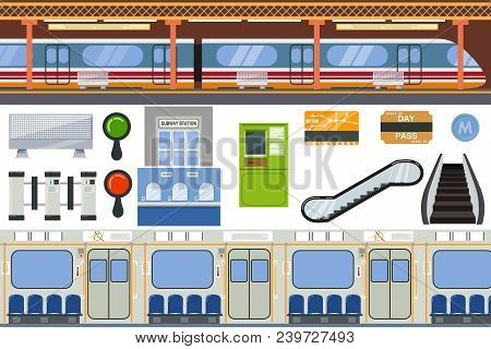 Subway Vector Metro Or Underground And Urban Public Transport In Tube Illustration Set Of Station In
