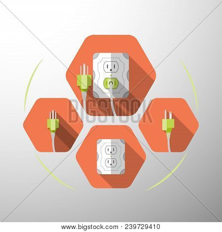 Set Of Electric Outlet And Plug Type B Isolated Icons With The Inserted Green Plug On The Red Hexago