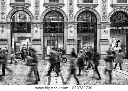 Milan, Italy - April 13: Inside Shopping Mall Galleria Vittorio Emanuele Ii On April 13,2 018 In Mil