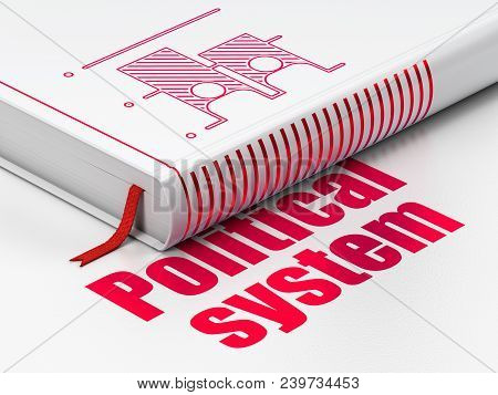 Politics Concept: Closed Book With Red Election Icon And Text Political System On Floor, White Backg
