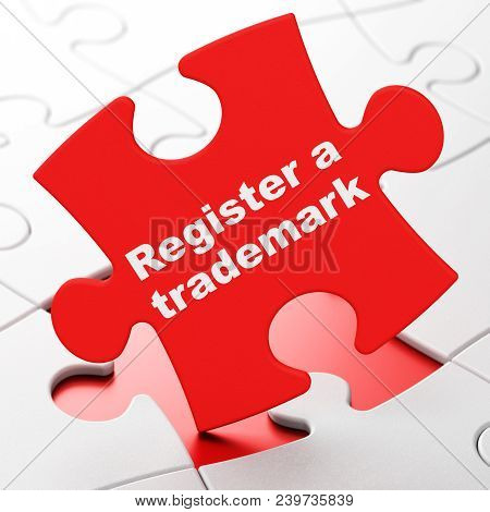 Law Concept: Register A Trademark On Red Puzzle Pieces Background, 3d Rendering