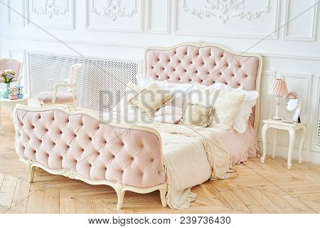 Big Royal Bed With Pillows In Elegant Bedroom Interior, Copy Space. Honeymoon Suite, Free Space. Fem