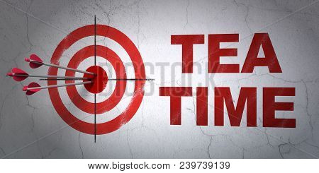 Success Timeline Concept: Arrows Hitting The Center Of Target, Red Tea Time On Wall Background, 3d R