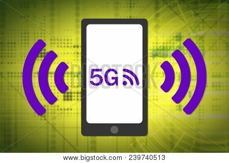 5G Wireless Concept. 5G Smartphone With Wireless Waves Icon. Complementary Colors