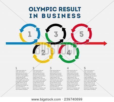 Scheme Of The Olympic Results In Business. Scheme Of The Olympic Results In Business In A Flat Style