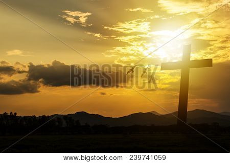 Silhouette Cross On Mountain Sunset Background. Abstract For Belief Break Sin Aim Pain Son Of God Sa