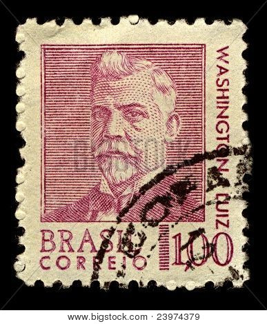 BRAZIL-CIRCA 1968:A stamp printed in Brazil shows image of Washington Luis Pereira de Sousa was a Brazilian politician, circa 1968.