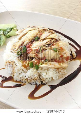 Hainanese Chicken Rice , Thai Gourmet Steamed Chicken With Rice. In Thai Word Called