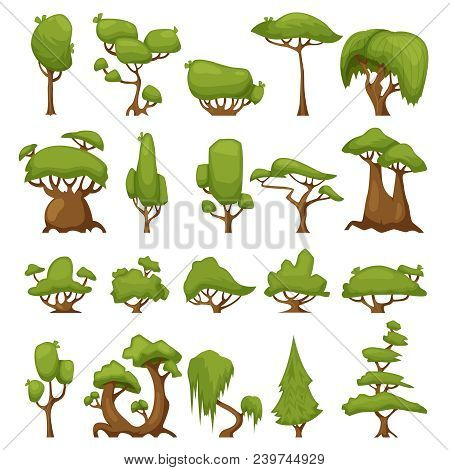 Set Of Abstract Stylized Vector Trees. Vector Park And Garden Trees And Bushes. Green Forest Plants