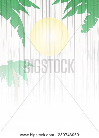 White Wood Shaded Panel With Summer Scene Sun Palm Tree And Palm Trees Leafs Copy Space
