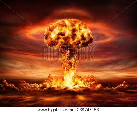 Nuclear Bomb Explosion - Mushroom Cloud After Big Explosion