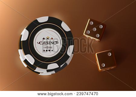 Casino Background Dice And Chips. Top View Of Golden Dice And Chips On Gold Background. Online Casin