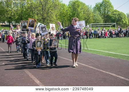 Russia. Moscow, May, 07.18: Special Kindergarden Procession Of The Immortal Regiment, Military State