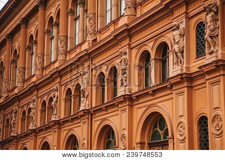 Historical Building Or Sight In Riga, Latvia Or Republic Of Latvia. Neoclassicism In Architecture Or