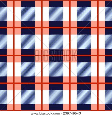 Tartan Plaid Seamless Pattern. Checkered Tartan Vector Background. Red And Blue Checkered Geometric
