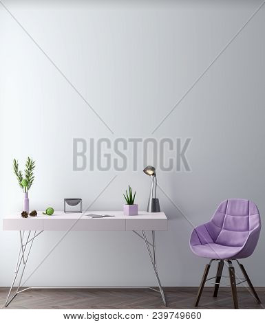 Mock Up Poster Frame In Hipster Interior Background In Pink Colors, Scandinavian Style, 3d Render, 3