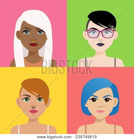 Set Of Multicultural Girl Portraits With Piercing On Colored Backgrounds. Diverse Women With Differe