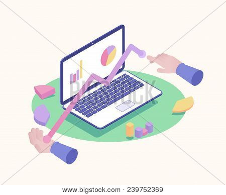 Isometric Laptop With Financial Review And Infographic Elements Vector Illustration. Isometric Hands
