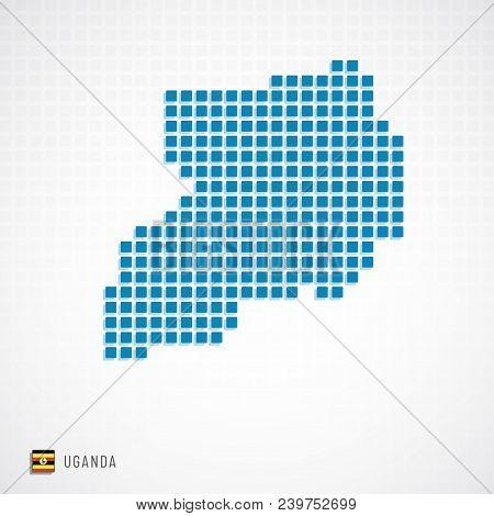 Uganda Map And Flag Icon