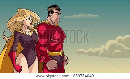 Cartoon Illustration Of Determined Superhero And Superheroine, Standing Side By Side And Looking In