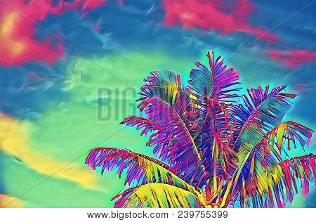 Neon Coco Palm Tree On Vivid Sky Digital Illustration. Psychedelic Tropical Vacation Banner Template