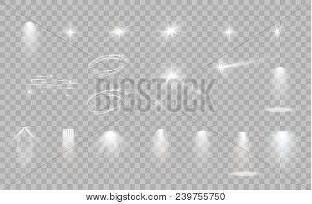 Glow Isolated White Transparent Light Effect Set, Lens Flare, Explosion, Glitter, Line, Sun Flash, S