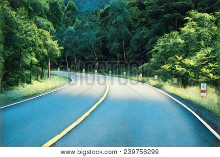 Turn On Empty Forest Road. Summer Travel Landscape Optimistic Digital Illustration. Highway And Road