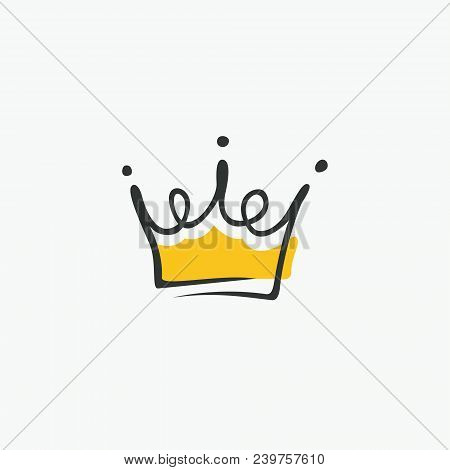 Graphic modernist element drawn by hand. royal crown of gold. Isolated on white background. Vector illustration. Logotype, logo poster