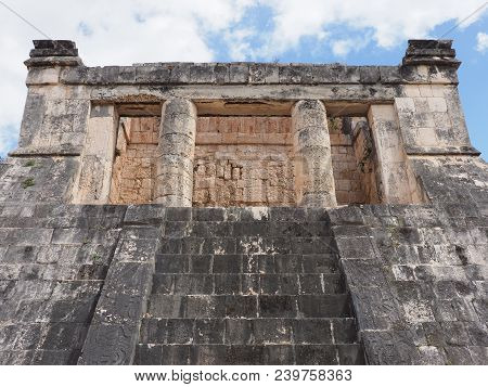 Ancient Wall Ruins Of Great Ball Court Buildings At Chichen Itza City In Mexico, Largest Of Archaeol