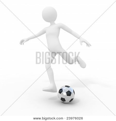 Football Player Kicking The Ball