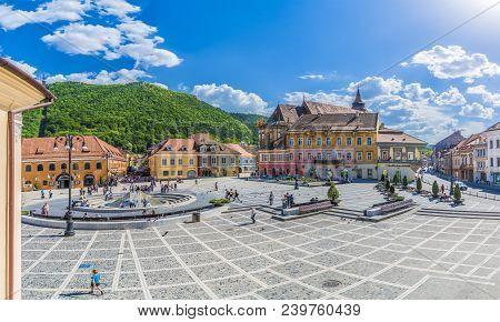 Brasov, Romania - May 06, 2018: Council Square Brasov, Transylvania Landmark, Romania