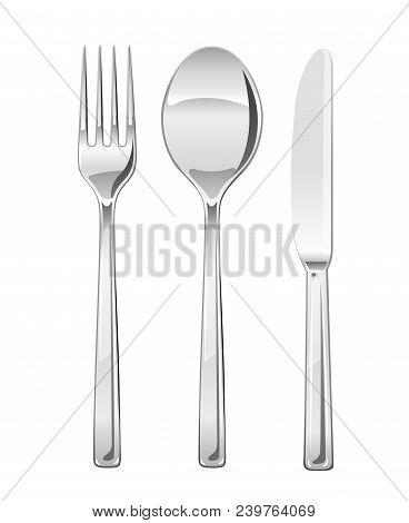 Fork, Spoon, Knife. Set Of Utensils For Eating. Food Dishes. Stainless Tableware. Kitchen Equipment.