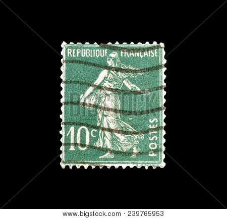France - Circa 1921 : Cancelled Postage Stamp Printed By France, That Shows Sower.