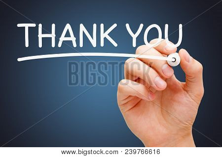 Hand Writing Thank You With White Marker On Transparent Wipe Board.