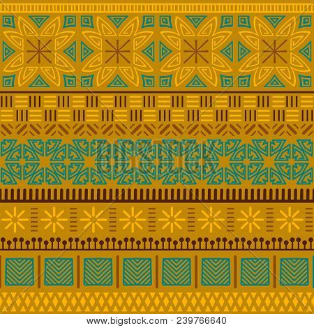 Tribal Ethnic Seamless Pattern. Abstract Geometric Ornament With African Motifs. Vector Illustration